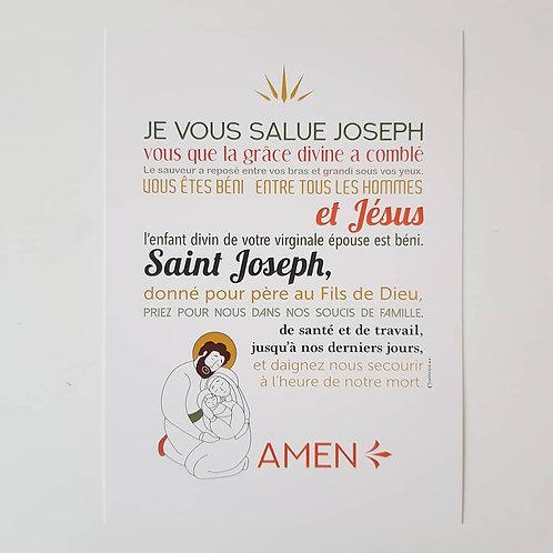 Affiche-prière Je vous Salue Joseph (avec coquille corrigée)