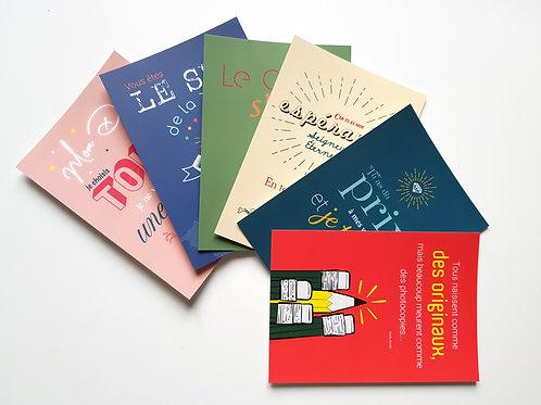 Lot de 6 cartes postales