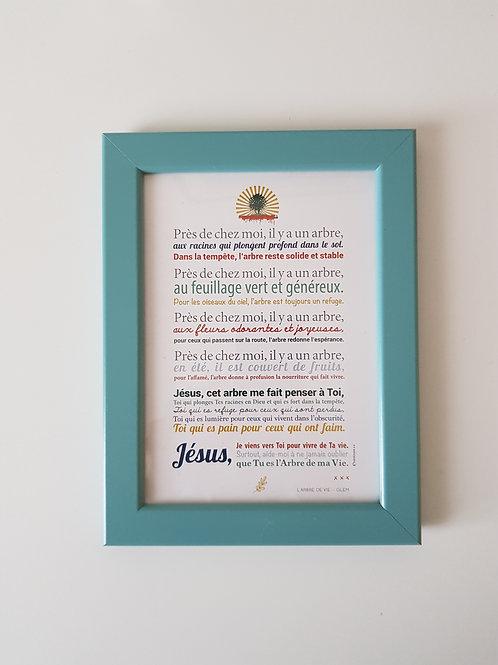 Affiche-prière + cadre bleu ARBRE DE VIE