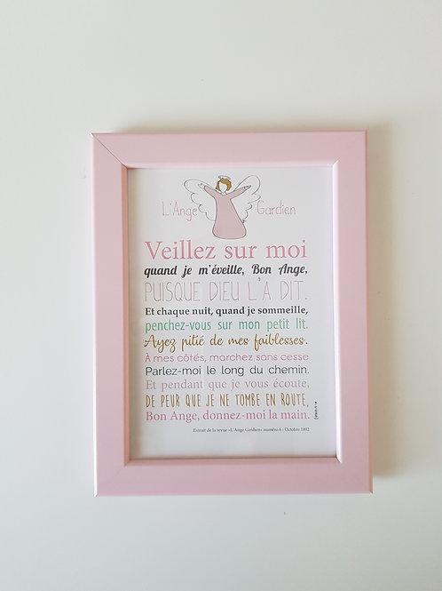 Affiche-prière + cadre rose ANGE GARDIEN