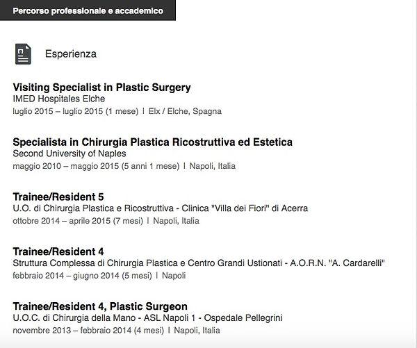 Curriculum Dott. Stefano De Luca, Chirurgo Plastico napoli