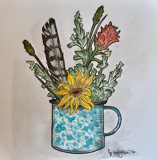 """Tin Cup Bouquet"" Original"