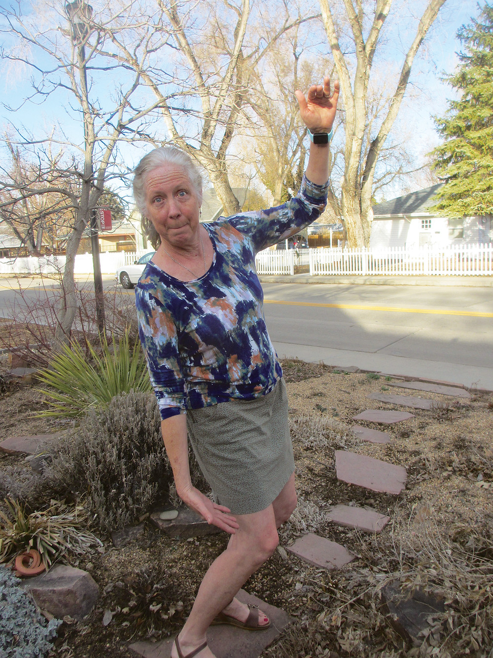 """Above: She removed a spreading 'Low Grow' sumac from the front garden with roots """"this long."""" Below, The only water her Longmont front garden receives comes from the sky."""