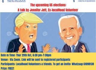 The upcoming US elections: A talk by Jennifer Jett, Ex-localHood Volunteer