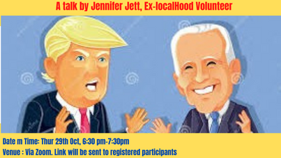 The upcoming US elections: A talk by Jennifer Jett, Ex-localHood Volunteer