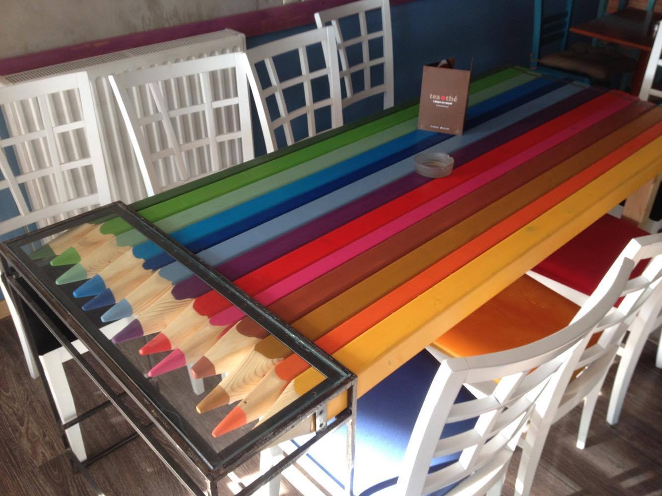 Colour pencils table