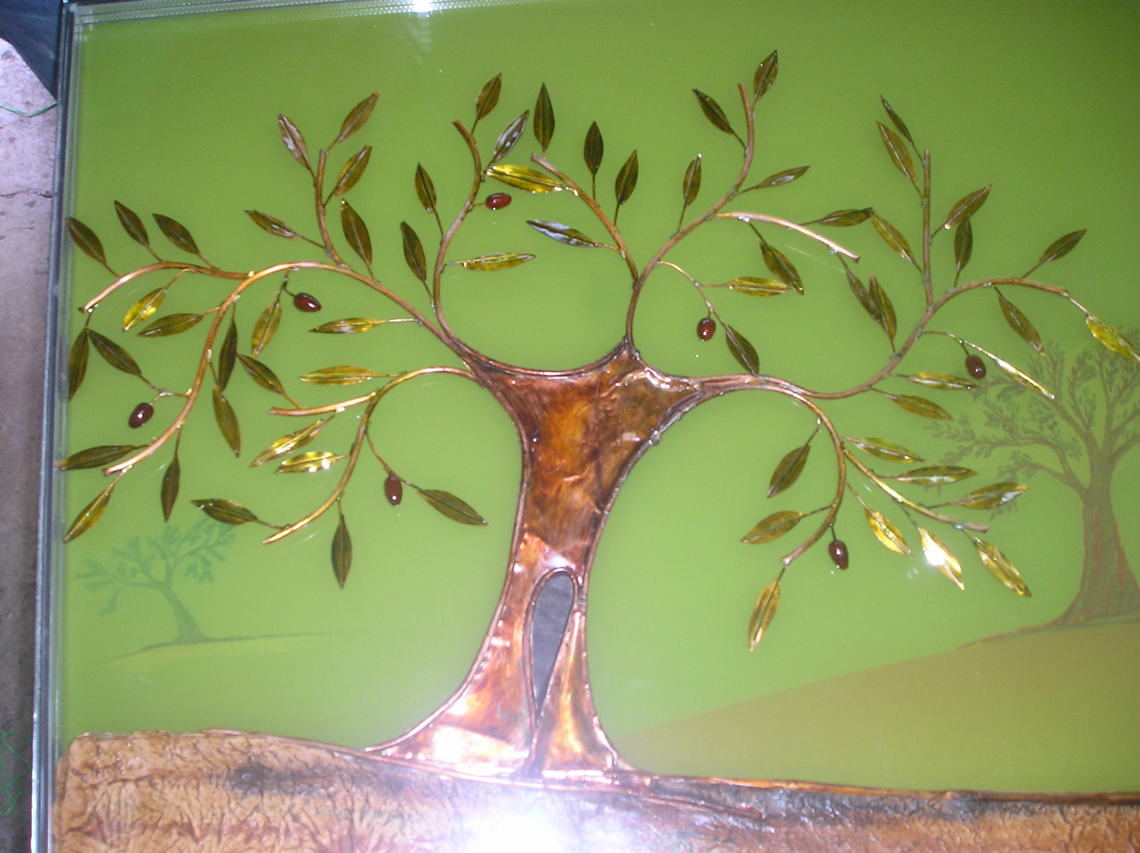 olive tree - glass, copper