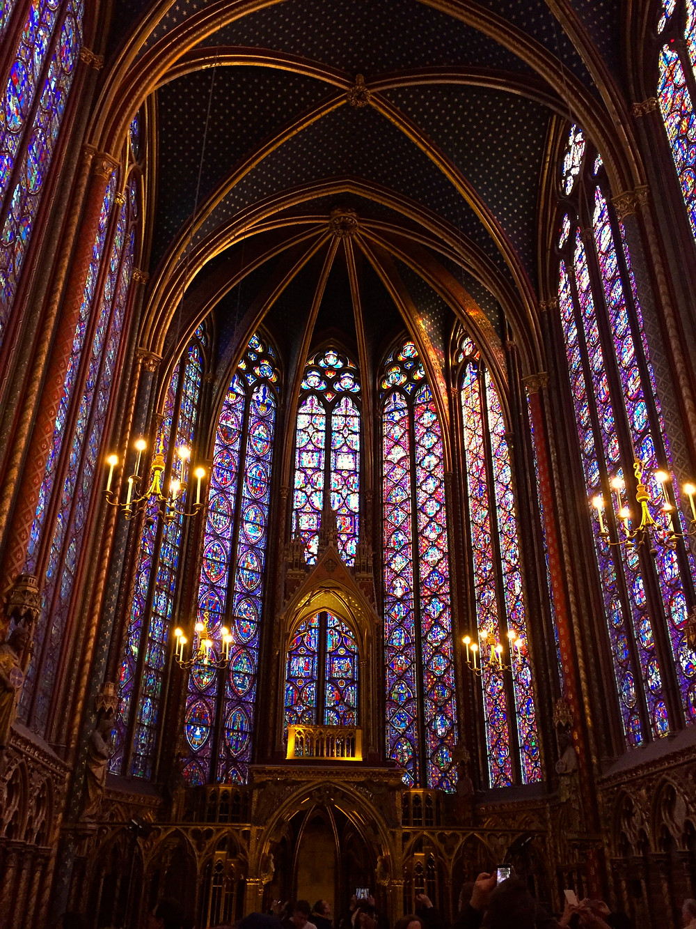 Your view at La Sainte Chapelle as classical music washes over you.
