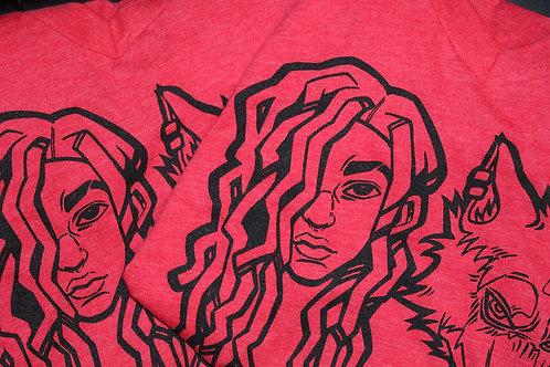 Ladies Heather Red Wolfie Baby V-Neck T-Shirts