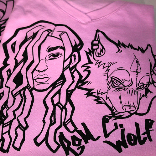 Ladies Lilac Wolfie Baby V-Neck T-Shirts