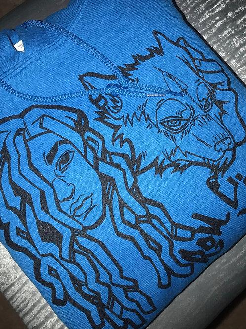 Aqua Wolfie Baby Hoodies