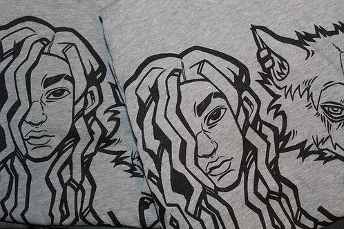 Ladies Heather Grey Wolfie Baby V-Neck T-Shirts
