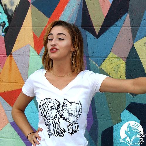 Ladies Wolfie Baby V-Neck T-Shirts