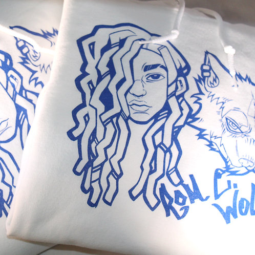 Wolfie Baby White/Blue Hoodies