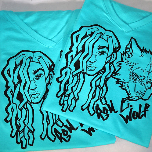 Ladies Tahitian Blue Wolfie Baby V-Neck T-Shirt