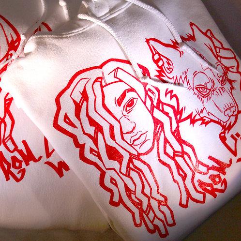 Wolfie Baby White/Red Hoodies