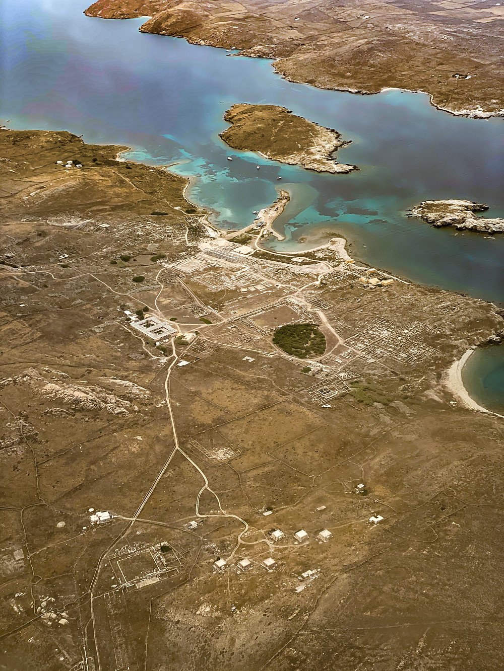 View of the ruins at Delos from the airplane.