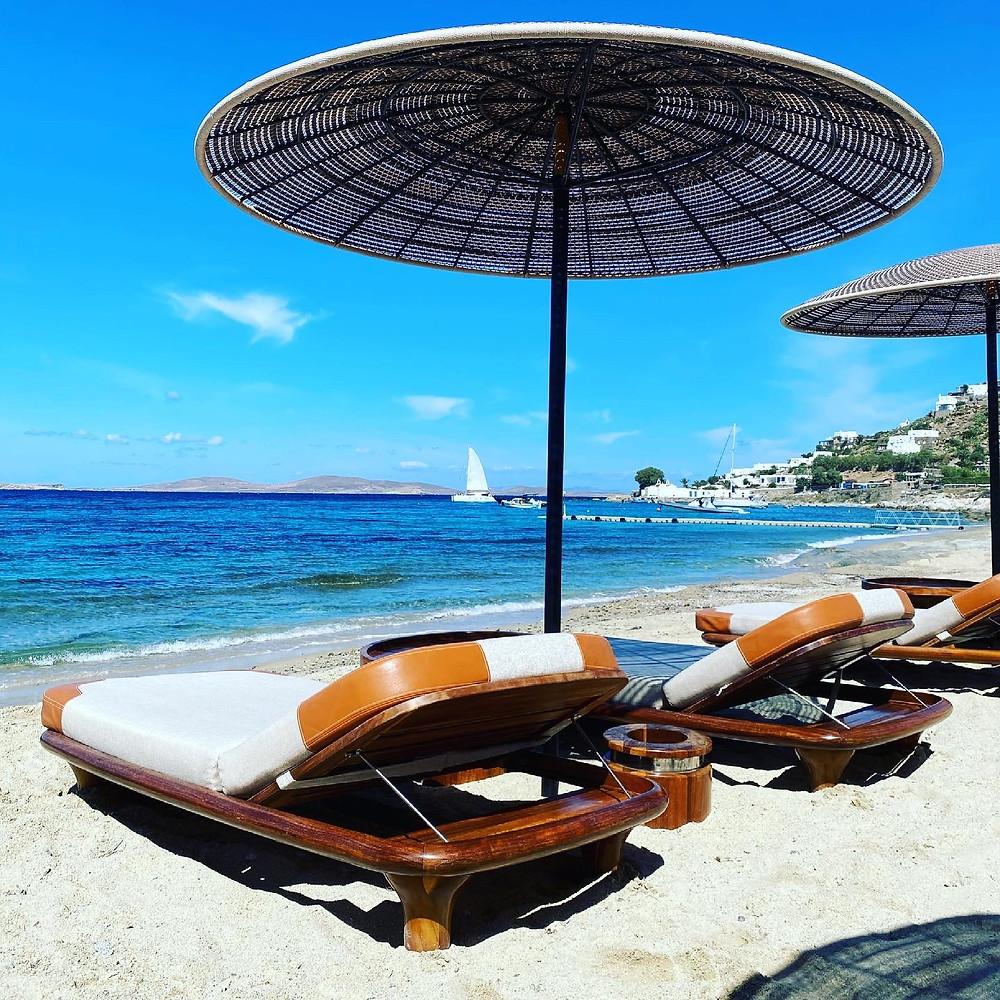 Sun beds at Paralia Agios Ioannis, Mykonos, Greece