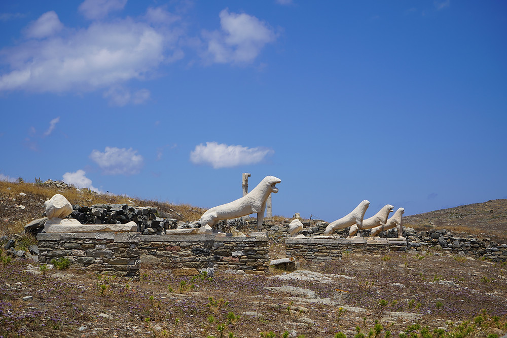 Replicas of the lions that guarded the sacred lake at Delos.