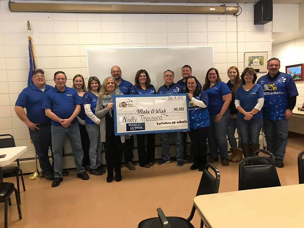 Presentation of $90,000 check to Make a Wish Connecticut from Wishes on Wheels