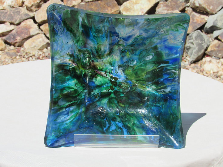 Glass bowl, blue and green, square