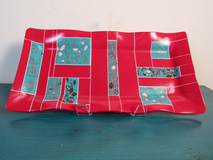 Read and turquoise tray by Malu