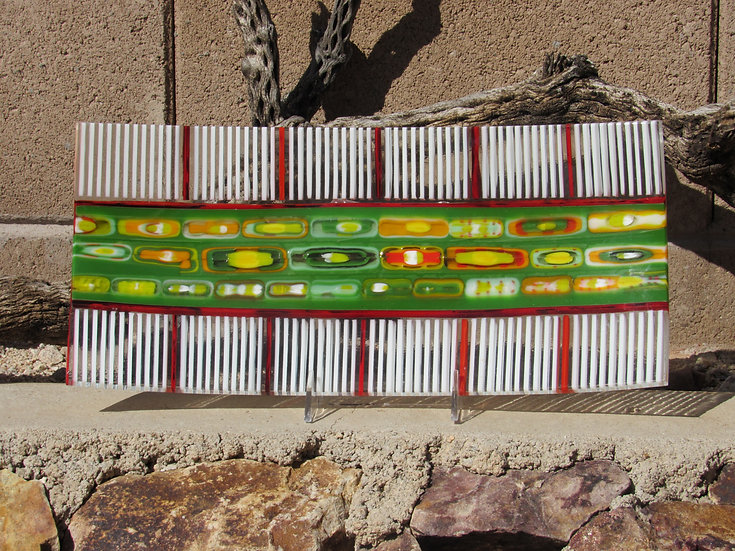 Rectangular Tray, white and multicolor