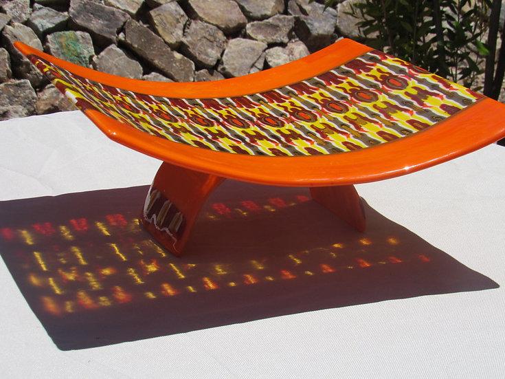 Curved orange platter by Malu
