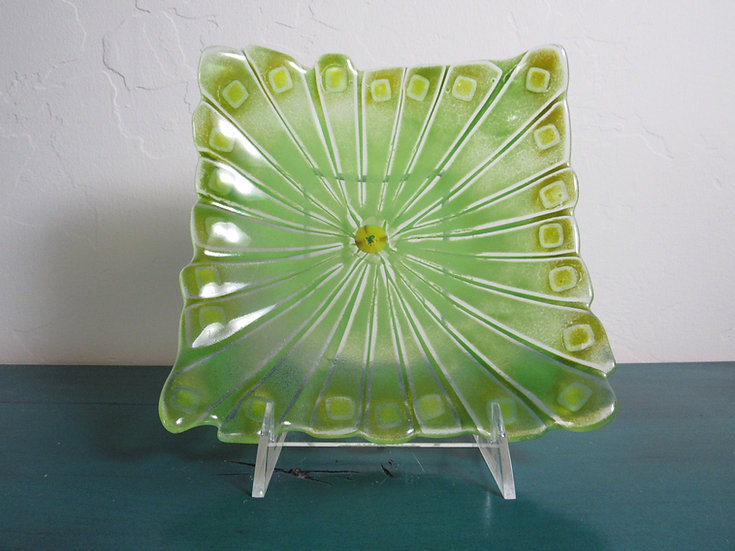 Green concetric platter by Malu