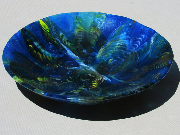 Glass bowl, green and blue by Malu