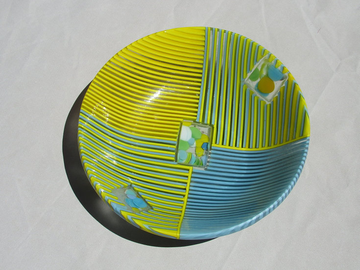 Glass bowl, yellow and blue, quadrants by Malu