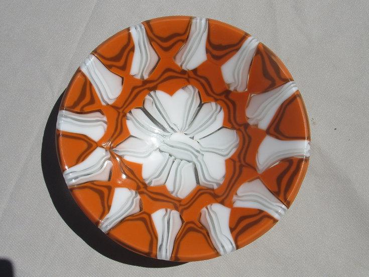Glass bowl, orange and white by Malu