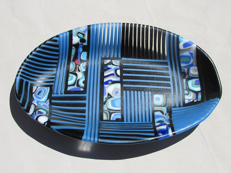 Glass bowl, blue and white