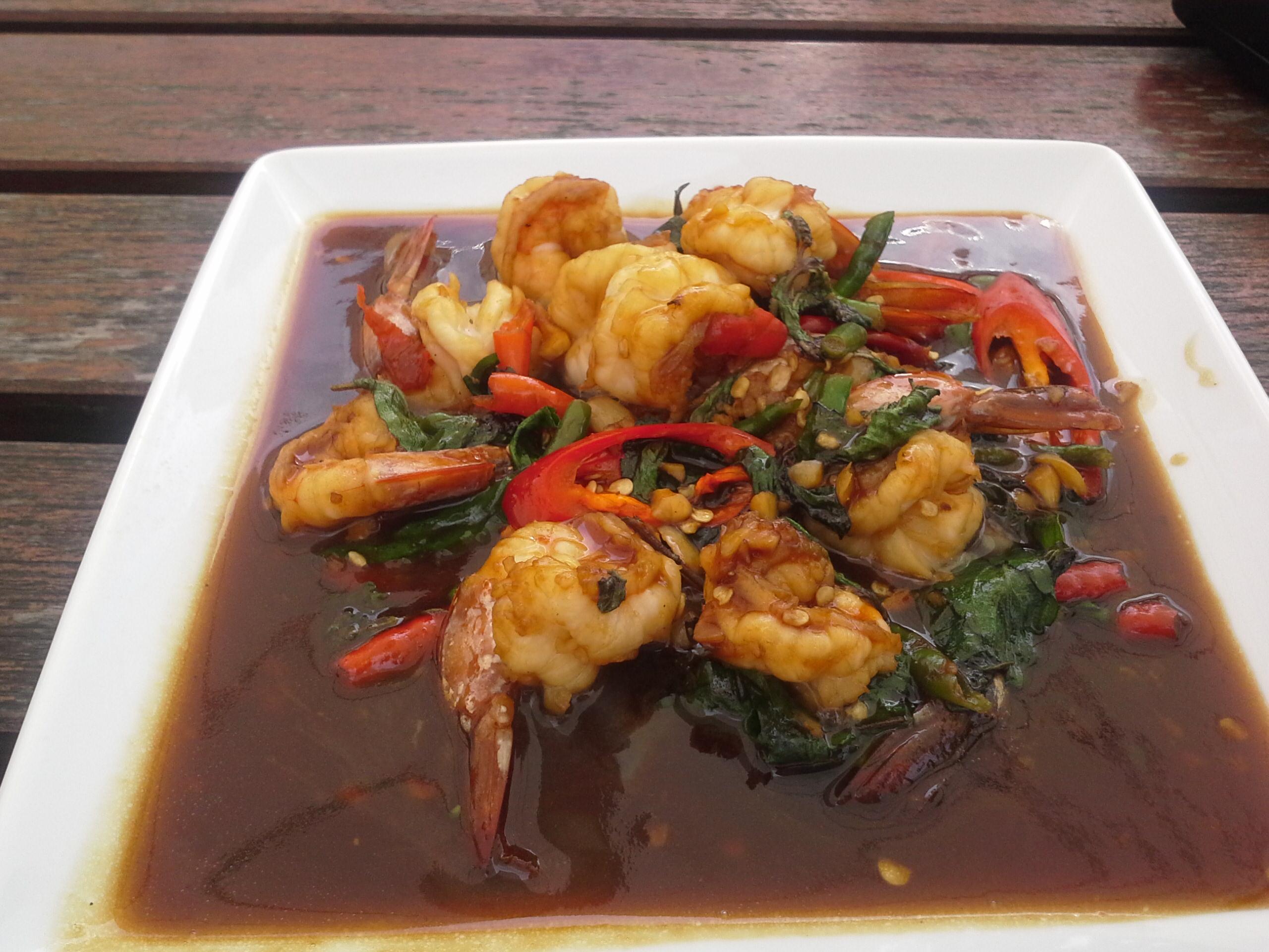 Crevettes sauce tamarin aux herbes