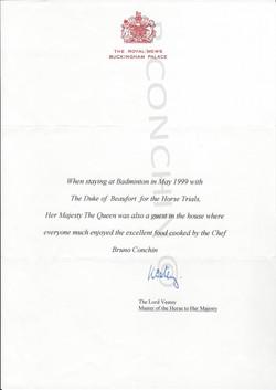 lettre de Buckingham Palace