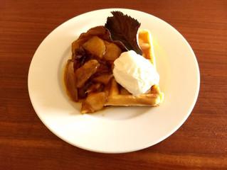 Waffles with Caramelised Apple and Icecream
