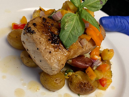 Ciderboys Brined Pork Chop with Fingerlings + Peach-Pepper Relish Recipe