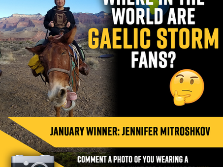 """January Winner announced for  """"where in the world are gaelic storm fans"""" contest"""