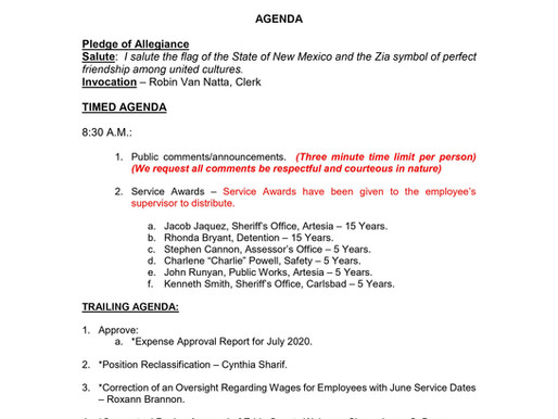 Eddy County Commission Meeting Tuesday, August18,2020