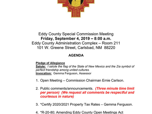 Eddy County Special commission Meeting