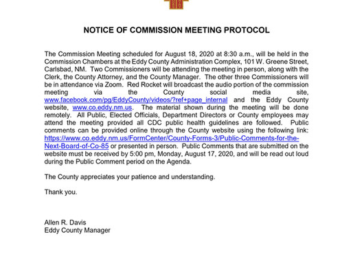 NOTICE OF COMMISSION MEETING PATROL August 18,2020