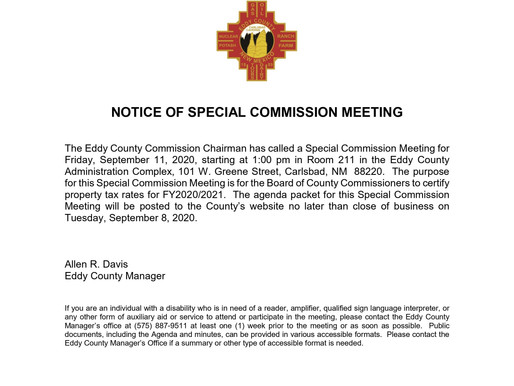 Notice Of Special Commission Meeting