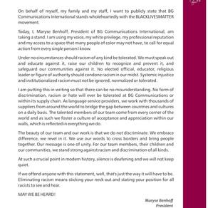 #BLM Statement / Déclaration