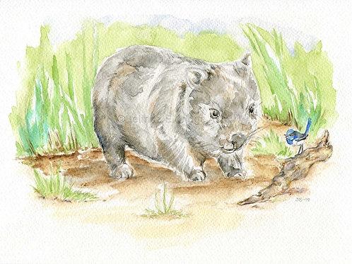 Wombat and Wren Print