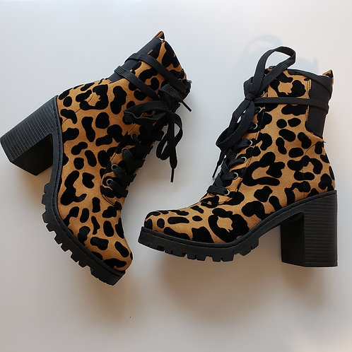 Huntley Leopard Print Suede Lace Up Booties