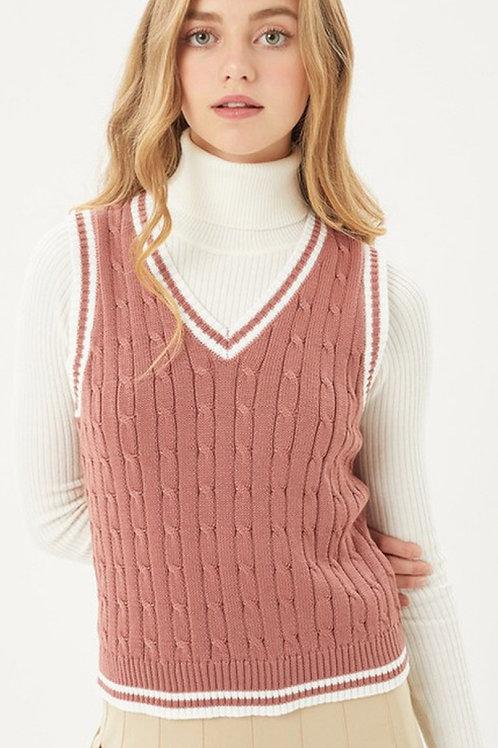 Sandra Dee Cable Knit Sweater Vest