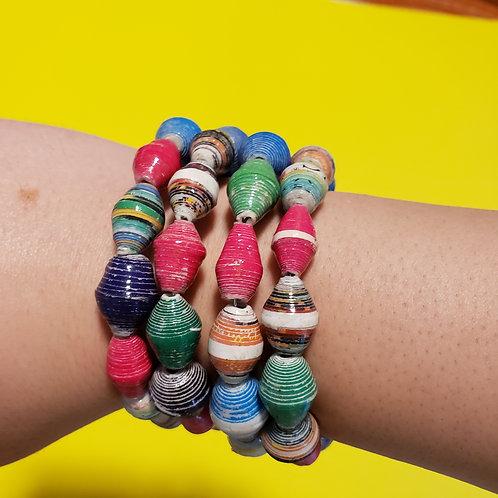 World Traveler Paper Bead Bracelet