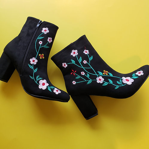 Aria Embroidered Suede Booties