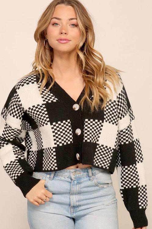 Junia Checkered Plaid Cardigan