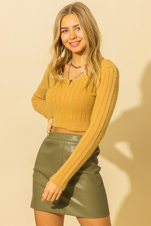 Zoe Ribbed Cropped Sweater